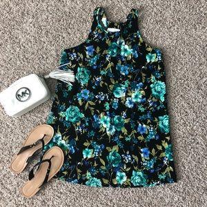 3/$33 Charles Henry Black Blue Floral Dress